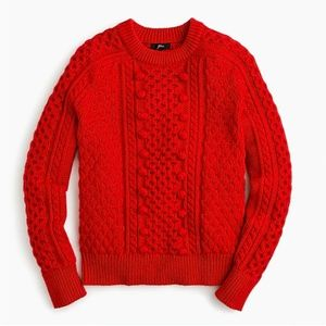 J.Crew Popcorn cable-knit sweater-K5311-FIRE RED